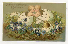 1908 TWIN BABIES IN LG EGGS EMBOSSED POSTCARD PC6814
