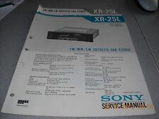Sony xr-25l FM/MW/LW CASSETTE CAR STEREO service manual