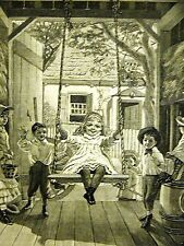 Victorian Girl Child SWINGING on SWING CHILDREN 1884 Antique Engraving Matted