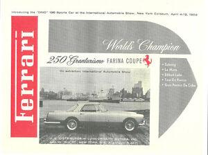 Vintage & Rare 1959 Ferrari 250 Granturismo Farina Ad Better Than Original Print