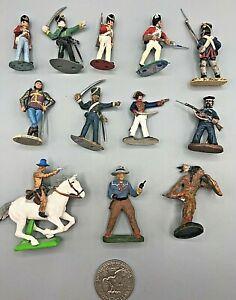 12 Vintage Plastic Cowboys Indians Toy Soldiers Britains Deetail Elastolin CTS