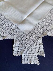 Edwardian Vintage Square Irish Linen Damask Table Cloth Hand Crocheted Edging