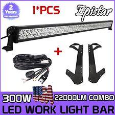52Inch 300W Combo Led Light bar+Mount Brackets Fit For Jeep Wrangler JK+Wire Kit