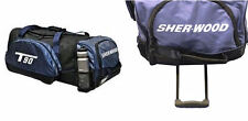 New Sherwood T90 wheeled hockey bag senior player equipment blue grey handle