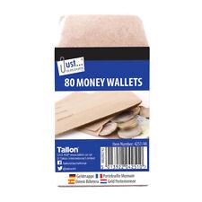80 Money Wallets - Brown Wages Envelopes Work Office School Cash Coins Safe