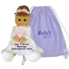 Personalised Rag Doll Birthday Christening Flower Girl Bridesmaid Baptism & Bag