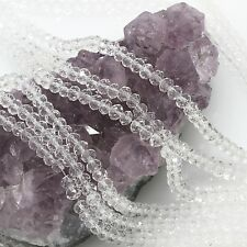 100 pcs 4mm Chinese Crystal Glass Beads Faceted Rondelle Clear Quartz