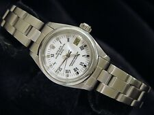 Rolex Date Lady Stainless Steel Watch Oyster Band White & Black Roman Dial 6916