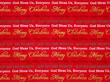 MERRY CHRISTMAS WORDS GOLD METALLIC BLESS US HOLIDAY 100% COTTON FABRIC  YARDAGE