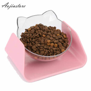 Pet Adjustable Neck Protect Bowl Dog Cat Inclinable Dish Puppy Food Water Feeder