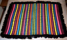 Hand Woven Throw Blanket Sofa Throw Afghan MARIAN ROUSE 44 X 65 Rainbow