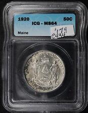 1920 Maine Half.  Commemorative.  In ICG Holder MS64.  e434