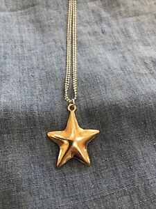 Olia STAR necklace long  ball bearing silver chain with gold star