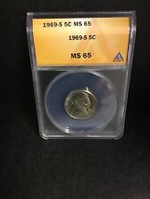 1969-S JEFFERSON NICKEL ANACS MS65