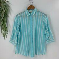 Chico's Womens Button Down Shirt Size 0 S Cotton Silk Blend White Aqua Top Woven