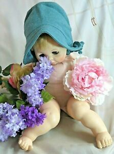 """VINTAGE antique 1930 BABY child DOLL BONNET hat BLUE WOOL top stitched LINED 24"""""""