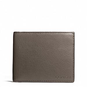 NWT Coach Bleecker Leather Slim Billfold ID Wallet Sharkskin Gray F74590