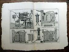 Encyclopédie Diderot D'Alembert Planche in-folio ART DU CARDIER Cardes 18e s.