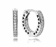 Earrings - Sterling Silver Pandora Alluring Hearts Hoop Women's