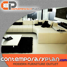 Contemporary Franco Collection White Leather Sectional Sofa w Black Pillows L
