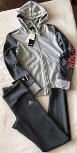adidas Full Zip Hoodie & Climalite Performance Mid-Rise Full Length Leggings - S
