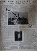 Norddeutscher Lloyd Große Werbeanzeige von 1926 Reklame Werbung advertising