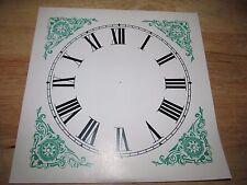 "Paper Clock Dial  - Roman w/ Green Roman Design Corners - 9"" x 9"" - Semi-Gloss"
