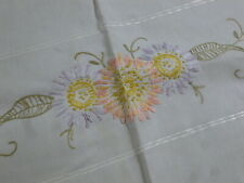 Antique Vintage Table Runner Buffet Cloth Mantle Scarf Embroidered White Cotton