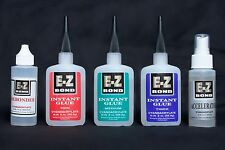 (3) 2Oz Bottles Of E-Z Bond Super Glue (1) 2Oz Debonder (1) Accelerator
