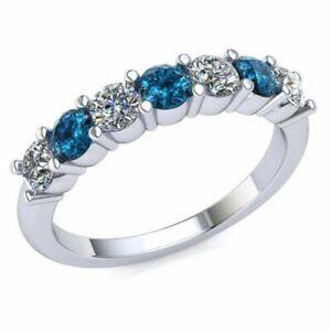 1.00Ct Round Blue & White Diamond Women's Anniversary Wedding Band 14K Gold