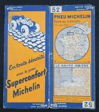 Carte MICHELIN n°52 LE HAVRE AMIENS 1927 map Mapa Bibendum pneu guide