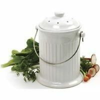 NEW NORPRO 93 CERAMIC 1 GALLON COMPOST KEEPER CROCK WHITE EASY CLEAN WITH FILTER