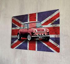 Personalizzato Union Jack Mini Auto Retro Metallo Segno A4 Metal Kids Room Porta Firmare