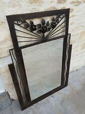 Ancien grand miroir art déco fer forgé miroir biseauté