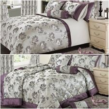 LUXURY OPULENT FLORAL JACQUARD MAUVE BEDSPREAD DUVET COVER SET OR CURTAINS
