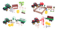 FARM TRACTOR TRAILER PLAYSET WITH FARM ANIMALS COW VEHICLES MILL LOGS