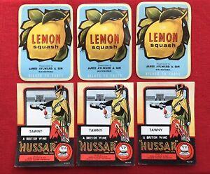 6 x Vintage Wine & Lemon Squash Bottle labels -  James Aylward Waterford