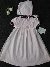 Baby girl pink rosebud gown dress bonnet christening wedding size 000 Fits 0-3m