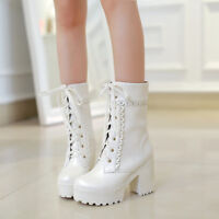 Womens Chunky Block Heel Ankle Boots Punk Platform Lace up Shoes Mid Calf Boots