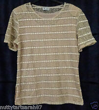 """Vintage MODA JOVEN Stretch Lace S/S Top Fully Lined Size L 38-40"""" EX COND"""