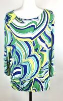 Chico's Size 3 Modern Movement Cold-Shoulder Multi Color 70s Style Top W/Swirls