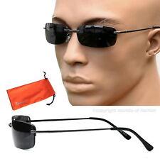 Agent Smith Style Sonnenbrille Rechteckig Linse Schwarz Brillenbeutel M5 schmal
