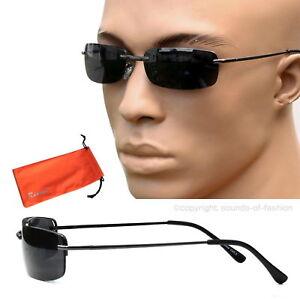 Agent Smith Style Sonnenbrille Rechteckig Linse Schwarz Brillenbeutel schmal M5