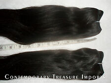 "2 BUNDLES 100% FULL CUTICLE UNPROCESSED INDIAN REMI HAIR ~ 15"" WEFT ~ #1B"