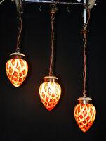 Rare 1940s art deco Acorn flame ceiling pendant light original bronzed fittings