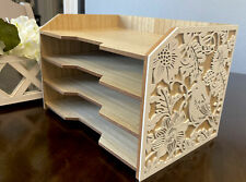 Wood File Organizer With 4 Dividers And White Bird Flowers Accent Very Pretty