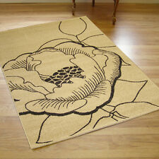 Large Contemporary Cameo Flower Rug Ivory 1.6m X 2.3m 5'3 x 7'6 approx