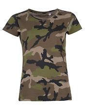 Sols Damen Womens Camo T-Shirt Camouflage Rundhals Kurzarm Tarnmuster Neuware