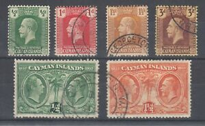 Cayman Islands Sc 50-52, 56, 70, 72 used. 1922-32 issues, 6 different, sound