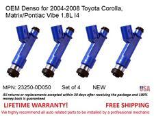 4 Fuel Injectors NEW for 04-08 Toyota Corolla Matrix/Pontiac Vibe 1.8L OEM Denso